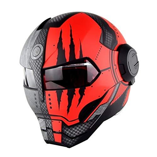 MYSdd Cooler und stylischer Motorradhelm Flip Skull Capacetes Flip Helm Schnelle und einfache Schnalle, weiches und bequemes Futter - Mattschwarz rot X XL