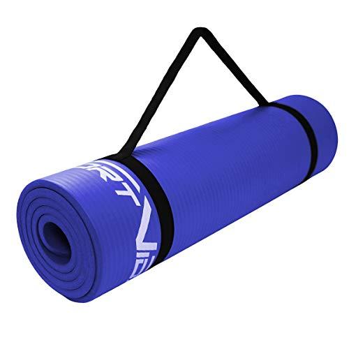 SportVida Yogamatte Fitnessmatte für Yoga Pilates Gymnastik   Schaumstoff NBR   180 x 60 x 1 cm   Isomatte für Camping Zelt (Blau)