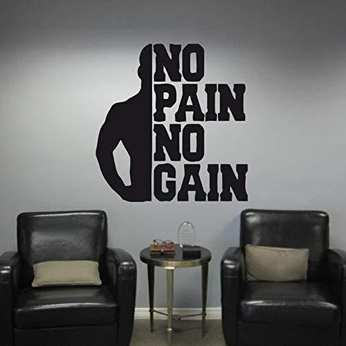 HGFDHG No Pain No Gain Fitness Pared calcomanía Citas Dormitorio motivación Entrenamiento Gimnasio Vinilo Pared Pegatina Deportes Culturismo Papel Tapiz