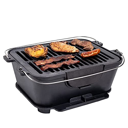 Bruntmor Heavy Duty Pre-Seasoned Cast Iron Portable Grill, 14' x 12-Inch Grilling Surface, Outdoor...