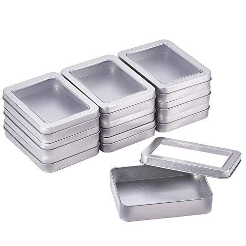 BENECREAT 10 Piezas Rectángula Caja de Almacenamiento de Metal con Gran Ventana Transparente 11.8x8.8x2.33cm para Organizar Artículos Pequeños Apta para Viaje