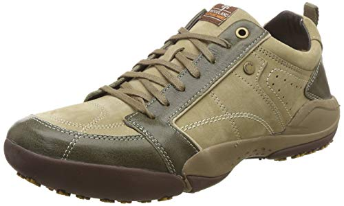 Woodland Men Khaki Leather Mules-10 UK/India (44 EU) (OGC 1339113)