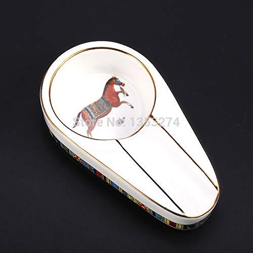 Portavasos Gadgets de cerámica de lujo Gadgets cigarros cenicero único soporte de cigarros redondo ceniza cigarrillo cenicero cenicero con caja de regalo!4 colores! (Color : White with horse)