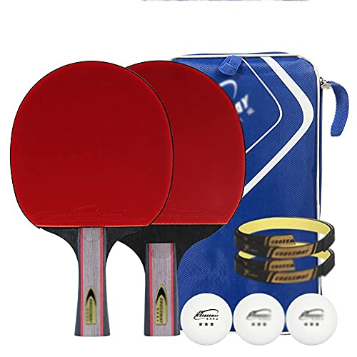 JIANGCJ bajo Precio. Raqueta de Tenis de Mesa - Paquete de 2 Paddle Premium - Paddle Ping Pong Profesional con Caja de Transporte - Caucho Aprobado for Torneo Play-I