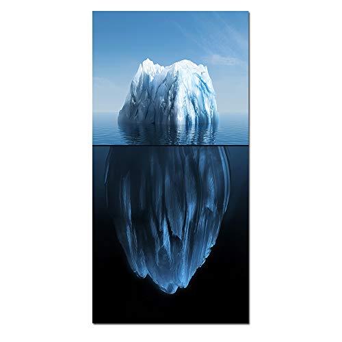 WSNDGWS 1 stuks prints en posters landschapsschilderij abstract kunst succes hard werk Beharlijkheid Een ijsberg geen lijst muurkunst canvas schilderij kalligrafie geen lijst 40x80cm