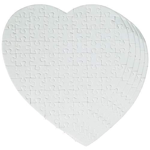 NRRN 75 puzles en forma de corazón blanco puro, sublimación en blanco rompecabezas DIY corazón rompecabezas rompecabezas DIY transferencia productos