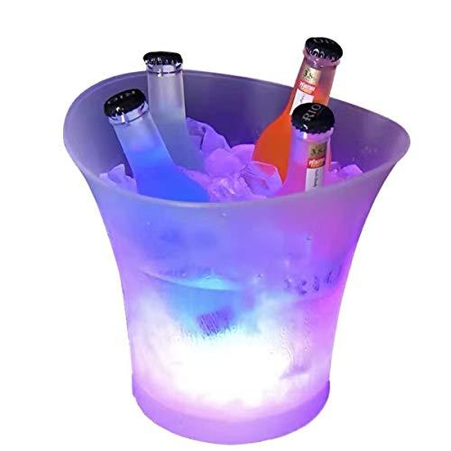 Tiandirenhe 5L Cubitera, Colorido LED Luz Hielo Cubo de Champán, con LED Cambiar Automatica Los Colores para Champagne Vino Bebidas Cerveza Hielo Enfriador Bar Club Pub