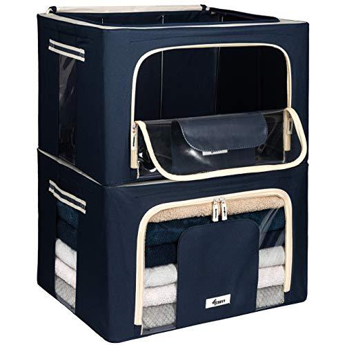 Starre Faltbare Kleideraufbewahrung 4CONVY - Aufbewahrungstasche Für Bettdecken/Kissen/Kleidungen/Bettwäsche Mit Metallrahmen Und 2 Geöffnete Fenster - Stapelbar - Sachen Nicht Zerknittert - 2 Stück