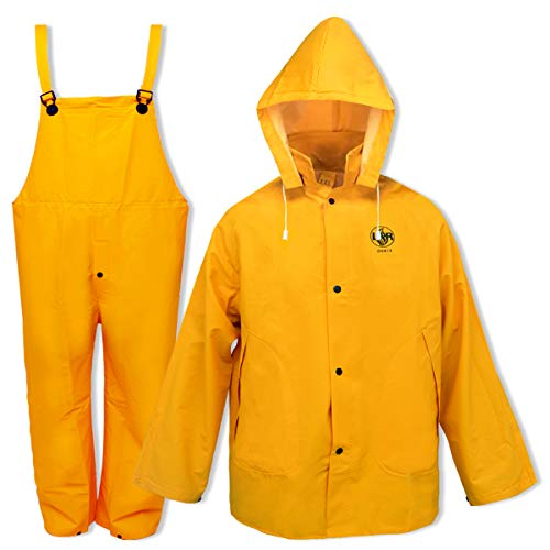 Rain Suit for Men Women Leather Craft Waterproof Protective Rain Coat Jacket with Bib-Style Pants Overall Rain Gear Workwear(Yellow, XXL)