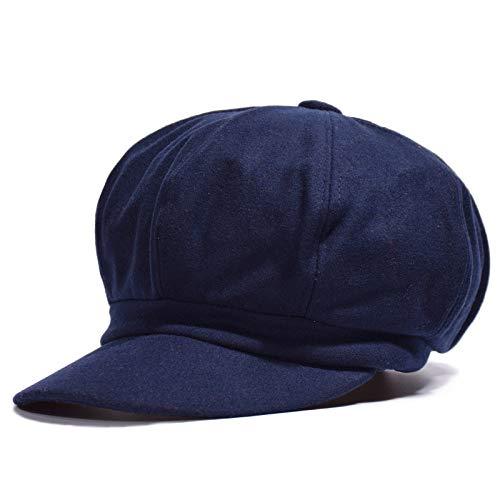 mlpnko Woolen Beret Beret britischer Achteck Hut lässige Mode Maler Hut tibetischen blau einstellbar