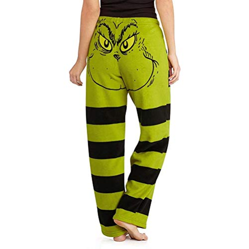 Stecto Grinch Baumwolle Übergröße Hosen für Frauen, grünes Weihnachtsmann-Kostüm, Damen Grinch Stola Weihnachten Gesicht Pyjamahose gestreift Damen Pyjamahose