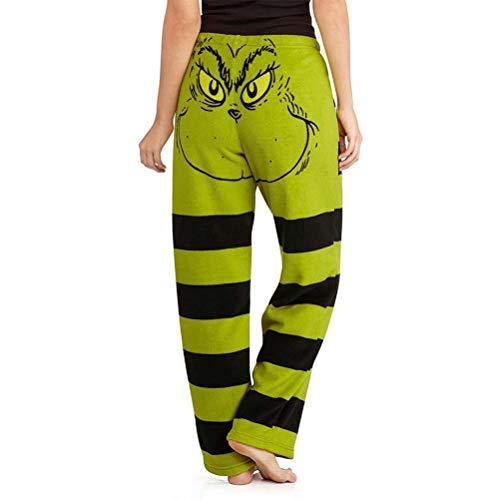 Stecto Grinch Pantalones de algodón de talla grande para mujer, disfraz de Papá Noel Grinch verde, para mujer, pantalones de pijama con cara de Navidad