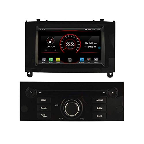 JFFFFWI Android 10 Car DVD Player GPS Stereo Head Unit Navi Radio Multimedia WiFi para Peugeot 407 2004 2005 2006 2007 2008 2009 2010 Control del Volante Negro