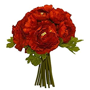 RED Ranunculus Bridal Bouquet Wedding Centerpiece Party Decor Silk Flowers
