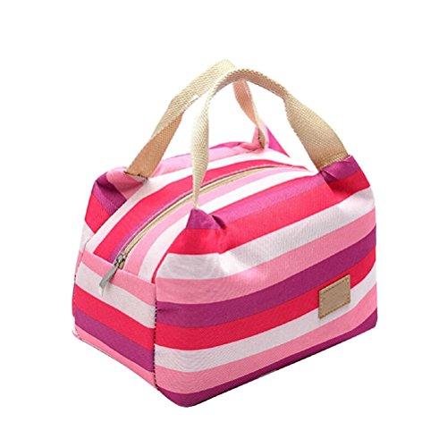Umily Pique-nique isotherme alimentaire stockage Zipper boîte fourre-tout Bento pochette sac à Lunch-Rose rouge