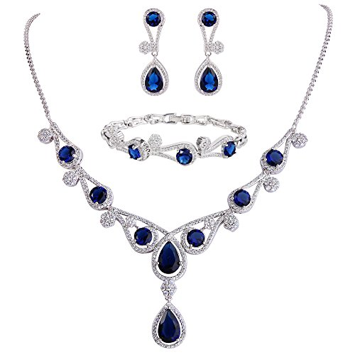 EVER FAITH Women's CZ Lots Hollow-Out Teardrop Necklace Earrings Bracelet Set Blue Silver-Tone