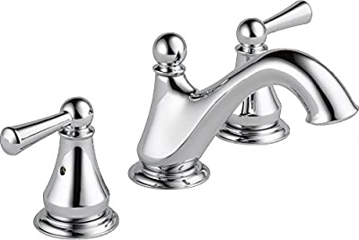 Delta Faucet Haywood Widespread Bathroom Faucet Chrome, Bathroom Faucet 3 Hole, Bathroom Sink Faucet, Drain Assembly, Chrome 35999LF