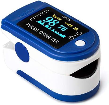 Oxímetro de Pulso, AUA Pulsioximetro de Dedo Profesional con Pantalla LED para Medición de pulso (PR) y Saturación de Oxígeno (SpO2), Lectura Instantánea