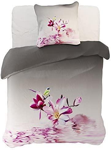 DecoKing Parure de lit 60964 - 200 x 220 cm - avec 2 taies d'oreiller de 80 x 80 cm - Gris - en Microfibre - Motif Floral - Violet, Rose, Blanc, Anthracite, Acier Graphite Framboise