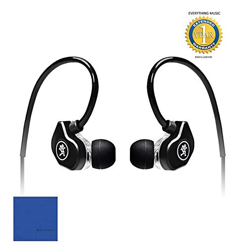 New Mackie CR-Buds+ In-Ear Headphones with In-Line Microphone & Remote (Black) with Microfiber and 1...