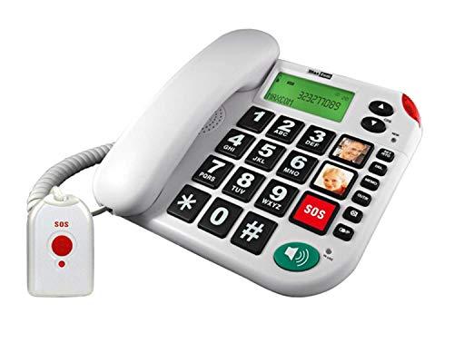 G-TELWAREin - Teléfono fijo para personas mayores (con mando a distancia SOS, 4 pilas, adaptador TAE/NFF, mando a distancia con correa)