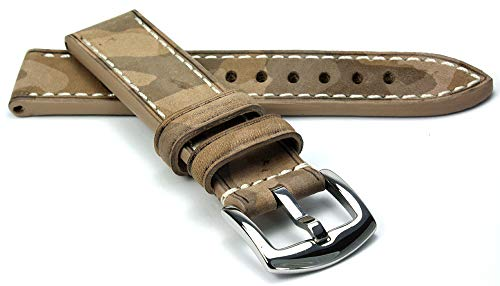 RIOS1931 Hawker Rindsleder Uhrenarmband handgemacht in Deutschland Robust 20mm Sand Camouflage