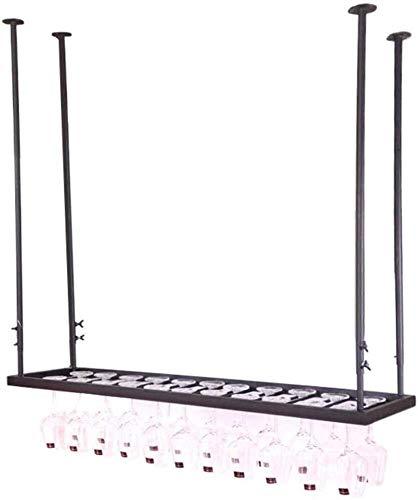 Estantería de vino Botellero de pared de metal Negro colgante montado en rack titular de vino de cristal cubiletes for copas, 120 x 30 cm con capacidad for 33 vidrios de las tazas de cocina, b