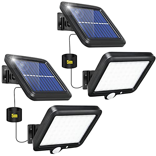 【2 Paquete】Luz Solar Exterior, Focos LED Exterior Solares 56 LED Luces Solares para Exteriores con Sensor de Movimiento 120° lluminación IP65 Impermeable Lampara Solar Exterior para Jardin Patio
