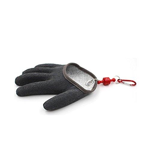 Angeln Handschuhe Jagd Handschuh topind Wasserdicht anti-cut Handschuh PE Draht Woven Latex Fisch fangen Handschuhe mit Magnet Release Angeln Wear M L XL 1Stück, schwarz