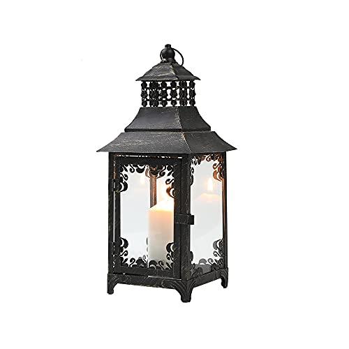 JHY DESIGN Dekorative Kerzenlaternen 37,5 cm hoch Vintage-Stil Hängende Laterne Metall Kerzenhalter für Indoor Outdoor Events Partys und Hochzeiten (Schwarz mit Goldpinsel)