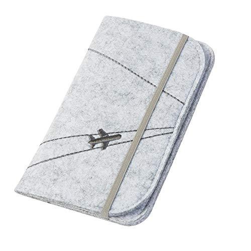 Reisepasshülle/Travel Wallet 'Flugzeug' aus Filz (hellgrau, Farbe wählbar) | Ausweistasche für Reise Dokumente wie Reisepass, Tickets, Wertsachen
