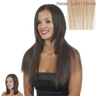 Extensions Cheveux Clips Marron clair/mix blondes Raides   45cm de longeur   Lot de 10 Clips Pièce