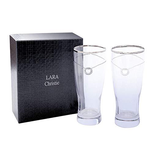 [ララクリスティー]LARAChristieビアグラスプラチナスワロフスキー・クリスタルが煌めくペアグラスlh-84-0004p