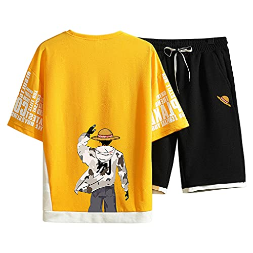 100%Cotton One Piece Anime Shirts and Shorts for Men Boys One Piece Anime Merchandise Manga Luffy Cosplay Tracksuits (TZ865-12yellow,M)