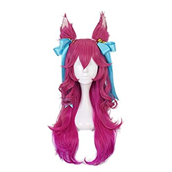Ani·Lnc wig Spirit Blossom Ahri Cosplay Wig LoL Cosplay Long Gradient Pink Wig with Ears Headwear Heat Resistant Synthetic Hair
