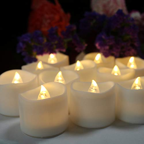 ICECON Flameless Tealight Candle, 24 Pack Warm White Always Bright Battery LED Tea Lights, Dia 1.4In Electric Fake Candle for Votive Wedding Party Dining Room Gift