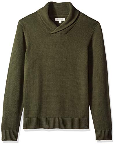 Amazon Brand - Goodthreads Men's Soft Cotton Shawl Collar Sweater, Solid Olive, Large