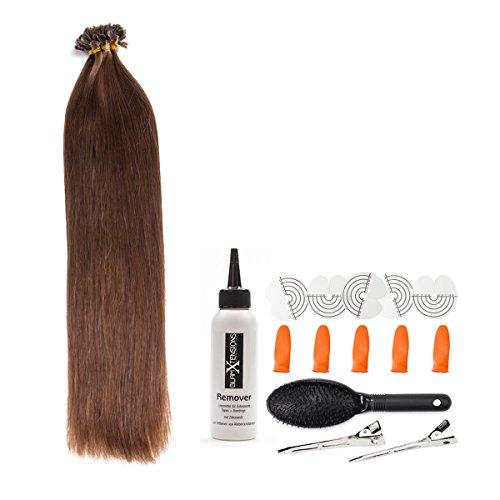 Schokobraune Bonding Extensions aus 100% Remy Echthaar - 25x 1g 50cm Glatte Strähnen - Lange Haare mit Keratin Bondings U-Tip als Haarverlängerung und Haarverdichtung in der Farbe #4 Schokobraun