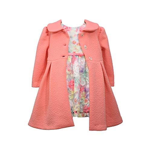 Bonnie Jean Conjunto de casaco feminino, Coral Pink, 18 meses