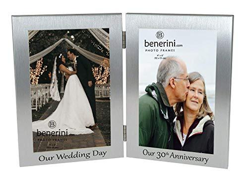 30th Pearl Wedding Anniversary Double Photo Frame - 'Our Wedding Day' & 'Our 30th Anniversary' - 4x6 inches