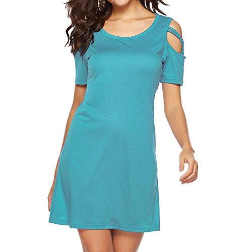 N\P Sommerkleid, lässig, Rundhalsausschnitt, einfarbig, kurzärmelig, trägerlos Gr. Large, 1