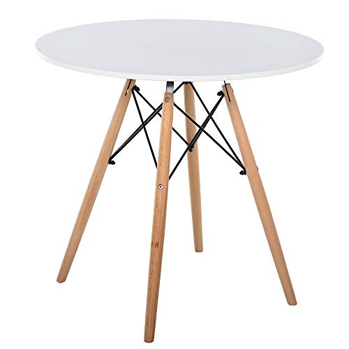 HOMCOM 80cm Scandinavian Style Round Side Coffee Table w/Wood Legs Simple Elegant Home Furniture Dining Office White Brown