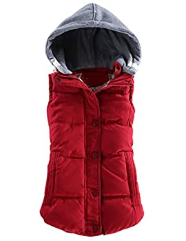 Yeokou Women s Slim Sleeveless Quilted Removable Hooded Winter Puffer Vest Coat  Large Red