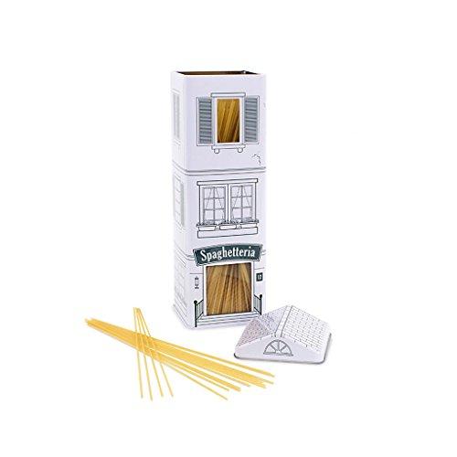Balvi Bote cocina Spaghetteria Color blanco Bote spaguettis en forma de restaurante italiano Diseño vintage Bote para almacenar comida como pastas y legumbres Artículo de cocina original Lata 29,5x9x9 cm