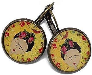 Orecchini sakura resina Frida uccello giallo rosso verde nero ottone bronzo perla regali personalizzati Natale anniversari...
