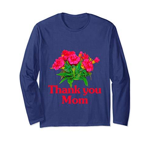 母の日 カーネーション ありがとう Mother's Day Carnation Thank you Mom 長袖Tシャツ