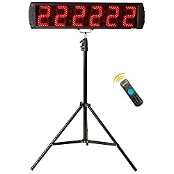 GAN XIN Portable 5'' High 6 Digits LED Race Clock with Tripod for Running Events, Countdown/up Digital Race Timer, 12/24-Hour Real Time Clock, Stopwatch by Remote Control, Red Color