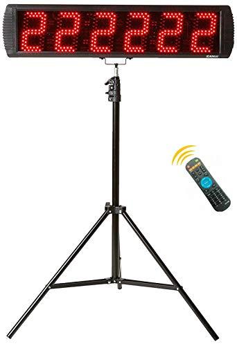 GANXIN LED-Stoppuhr für Wettbewerbe, 6 Ziffern, 13 cm große Ziffern, mit Stativ, Herunter-/Hochzählfunktion, mit Fernbedienung