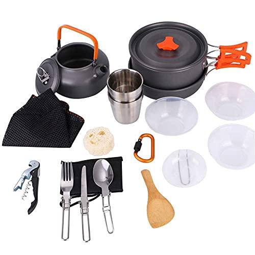 JJY Camping COCKETWARE Kit LIGHTWEED PORTEPORTE Mochila for cocinar Cocinar Agua Kettle Pan Travel Cutlery Utensilios Kit de vajilla (Color : Orange)