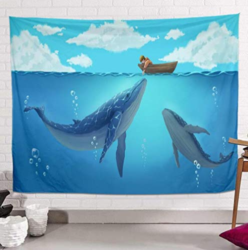 WSPZZWY Tapestries Anime Cartoon Whale Sea Multifunctional Wall Mounted Fashion Home Decor Tablecloth Mural Sofa Cushion Kids Gift Home Renovation C 80 * 120Cm